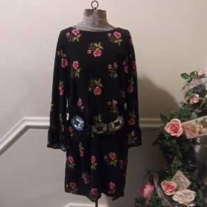 EUC Old Navy Boho Black Pink Rose Print Dress